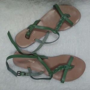 Green leather mossimo & Co sandles